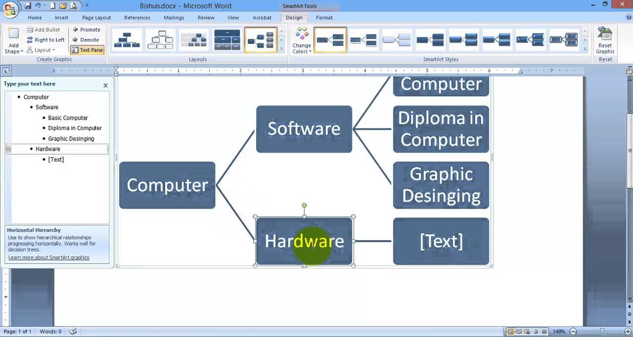 How to use smart art shapes and chart in Microsoft Word