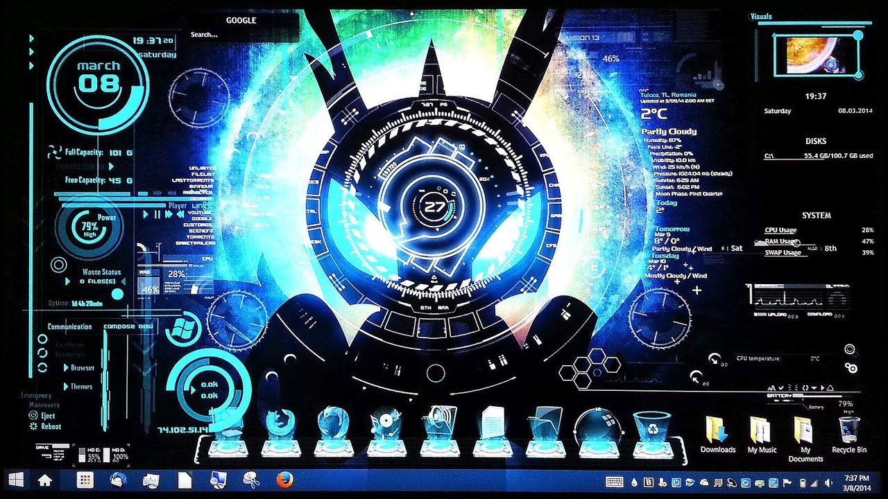 part 1] cool desktop customizations for windows [rainmeter jarvis