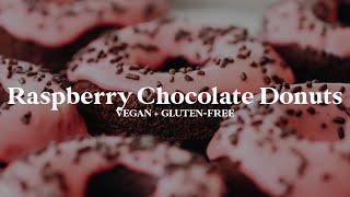 SunButter Raspberry Chocolate Donuts // vegan, gluten-free, oil-free