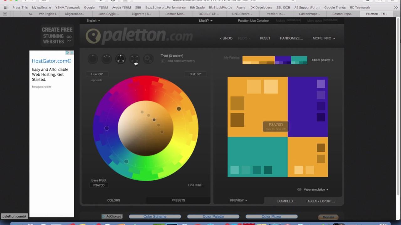 website design color scheme with paletton com youtube