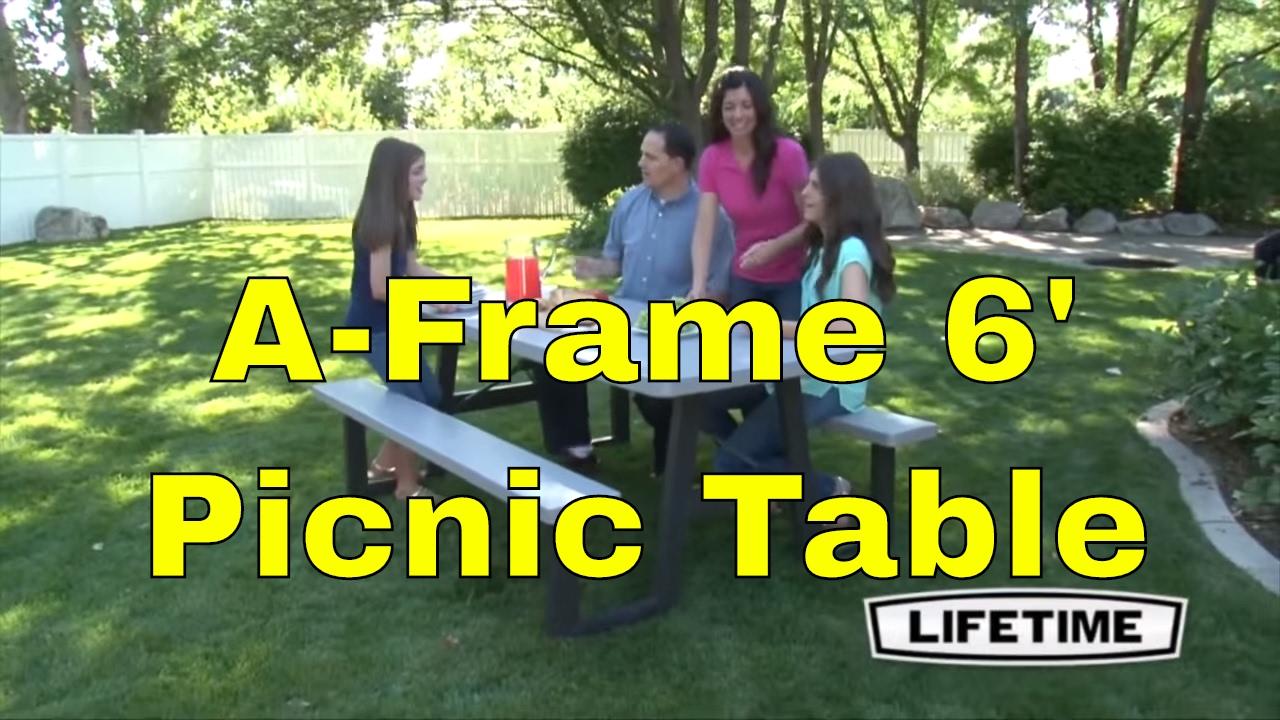 Lifetime A Frame  Folding Putty Picnic Table