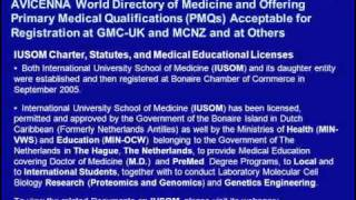 M.D. Degree Admissions for September 2011 Semester at IUSOM: AVICENNA Directory of Medicine Listed