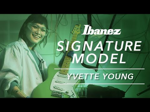 Yvette Young and her Ibanez YY10 signature guitar