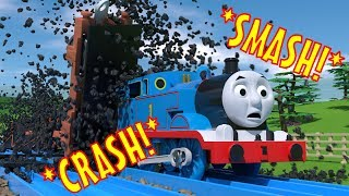 tomica thomas and friends slow motion crashes coal trucks smash into thomas