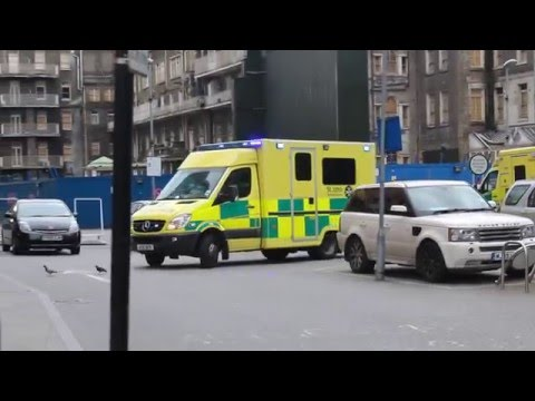 St John Neonatal Ambulance leaving the Royal London Hospital for a transport