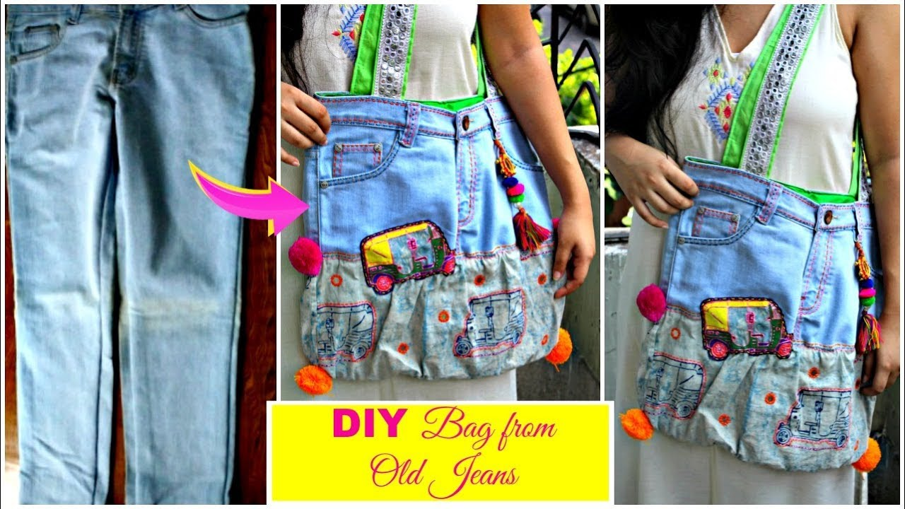 Diy Bag From Old Jeans Recycle Old Denims Pompoms Tassels