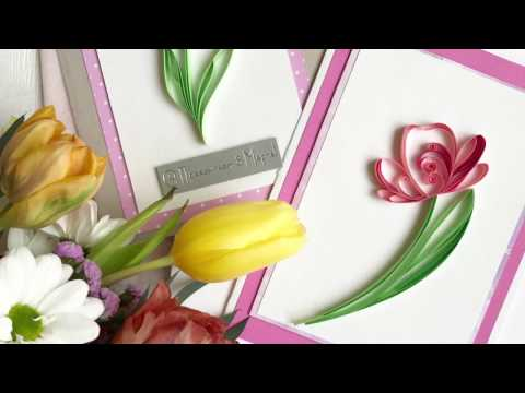 QllArt / Quilling filigree pattern/ How to make quilled Spring flower card