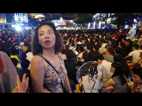 Crowd to welcome new year 2018 at Ho Chi Minh square in HCM city Vietnam