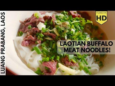 Laos Travel Vlog #6: Luang Prabang Fresh Markets and Street Food Noodles with Buffalo!