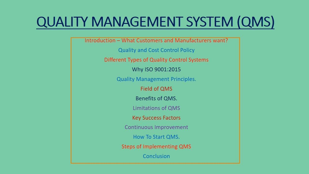 Quality Management System In Bangla Youtube