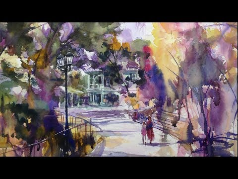 "Watercolor Painting Landscape  ""Moegi House""  – Tutorial with Osamu Murata 水彩画の描き方・風景画"