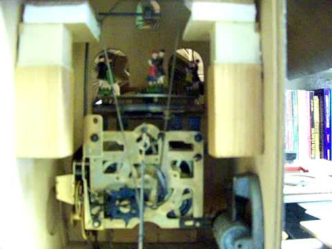 The inside of a musical cuckoo clock