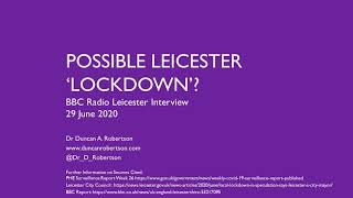 BBC Interview - Possible Leicester 'Lockdown'?