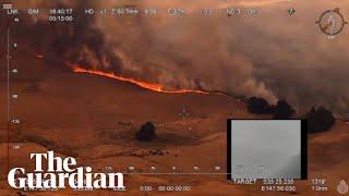 Aerial footage shows Australian bushfires raging in rural New South Wales