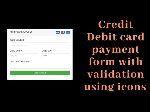 Credit/debit Card Payment Form With Validation Using  Icons Using HTML & CSS(Source Code)