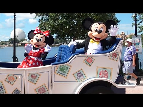 mickey-&-friends-world-tour---character-cavalcade-at-epcot-with-minnie,-pluto-&-goofy---multi-angle
