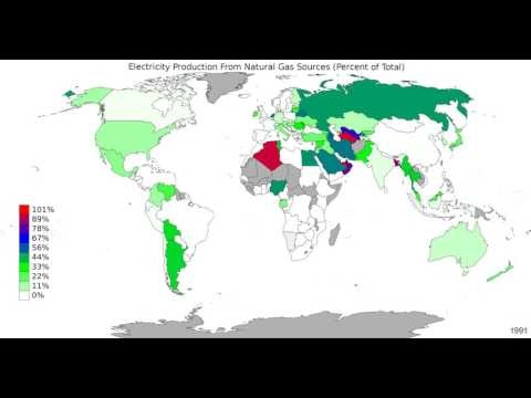 World - Electricity Production From Natural Gas Sources - Time Lapse