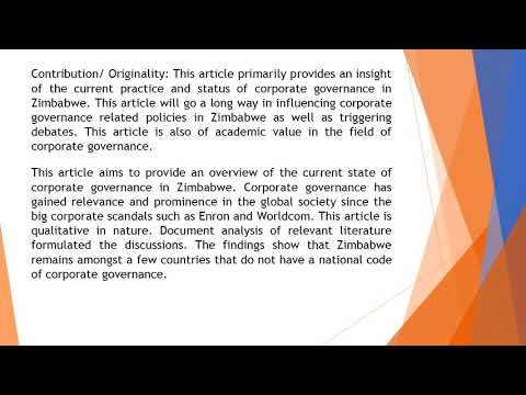 Corporate Governance in Zimbabwe An Overview of Its Current State  AEFR 51 167 178