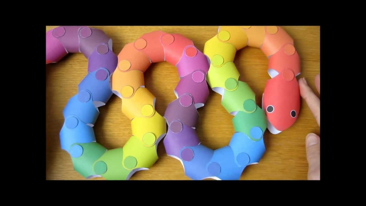 papercraft - action origami - moving snake - tutorial ...