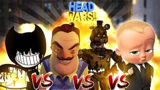 Minecraft EVIL HEAD WARS!! - THE NEIGHBOR VS BOSS BABY VS FNAF FREDDY VS BENDY AND THE INK MACHINE!!
