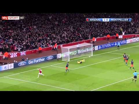 AMAZING GOAL Lukas Podolski - CL  Arsenal vs. Montpellier