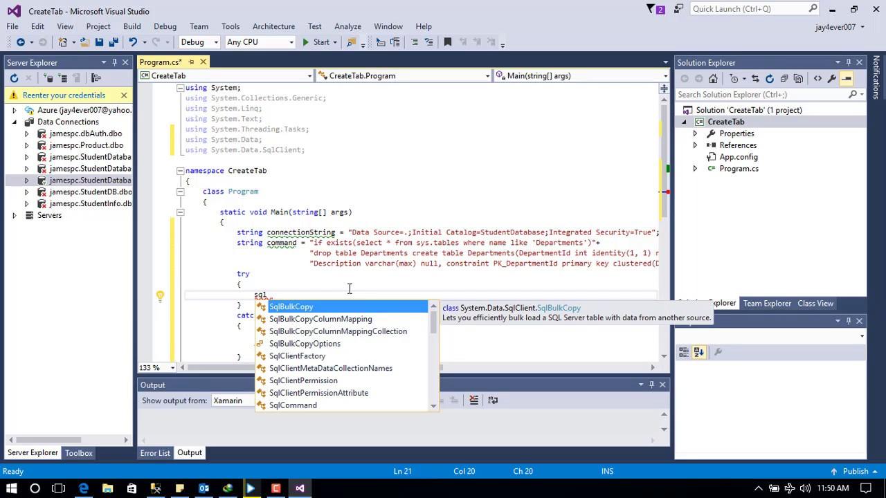 Create Sql Table In C