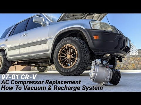 DIY Replace AC Compressor and Condenser on Honda CRV 97-01 – How to Vacuum and Recharge System