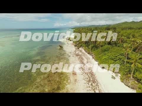 Aerial view of Bohol coast Island with boats. Aerial. Philippines.