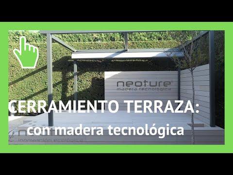Cerramiento en terraza con tarima de madera tecnologica for Celosia de madera para jardin