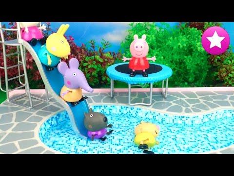 Peppa pig 61 fiesta en la piscina de su nueva casa peppa for Resbaladilla para alberca