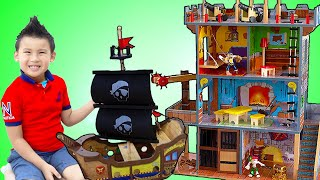 Jannie and Liam Pretend Play with Pirate Ship and Playhouse Toy Set