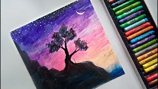 Easy scenery drawing with oil pastel colours