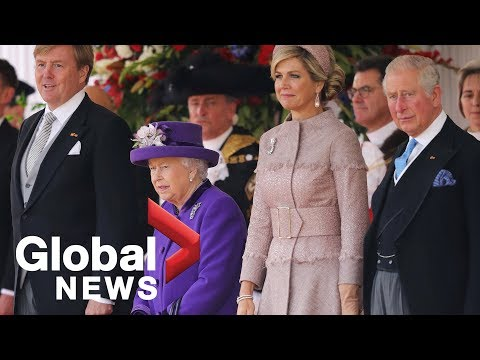 Dutch King and Queen formally welcomed by Britain's Queen Elizabeth on first state visit in 36 years