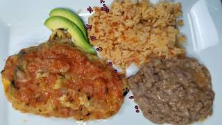 Mexican food cheese stuff chili  rice and beans