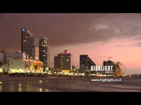 Time Lapse Clip Of Israel: Tel Aviv Sea Shore Day To Night