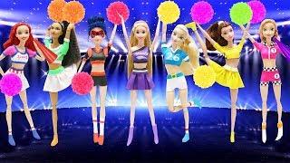 Play Doh Disney Princess Cheerleader Barbie Elsa Anna Ariel Ladybug Belle Rapunzel