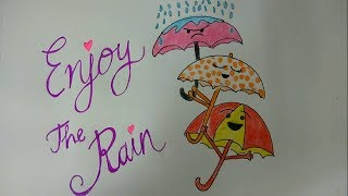 Draw Rainy Season Drawing for kids step by step, Dancing Umbrella