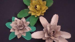 Flor de Abacaxi com Rolo de Papel Higiênico por Flores e Flores