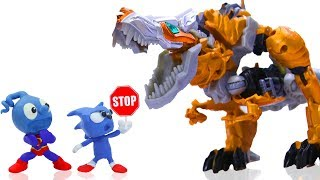 TINY SONIC MEETS TRANSFORMERS DINOSAURS T REX  CLAY MIXER Play Doh Stop Motion