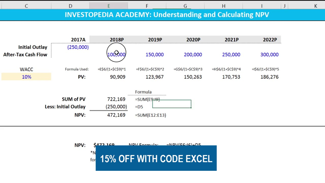 how do you calculate npv in excel