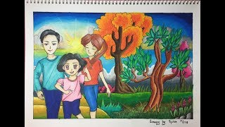 Drawing and coloring healthy family using color pencil mix oil pastel