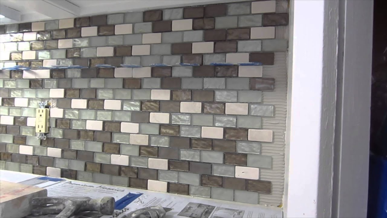 Glass mosaic tile instalation time lapse youtube dailygadgetfo Choice Image