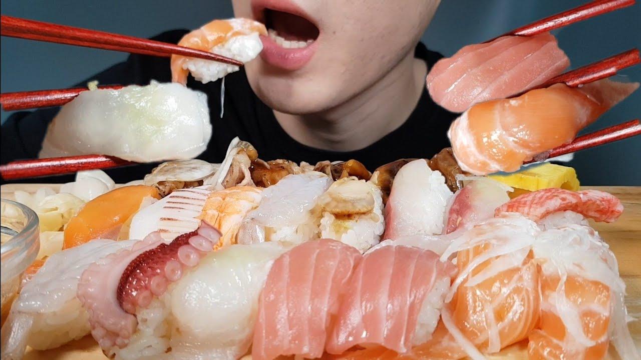 ASMR SUSHI REALSOUND MUKBAGN 모듬초밥 리얼사운드 먹방