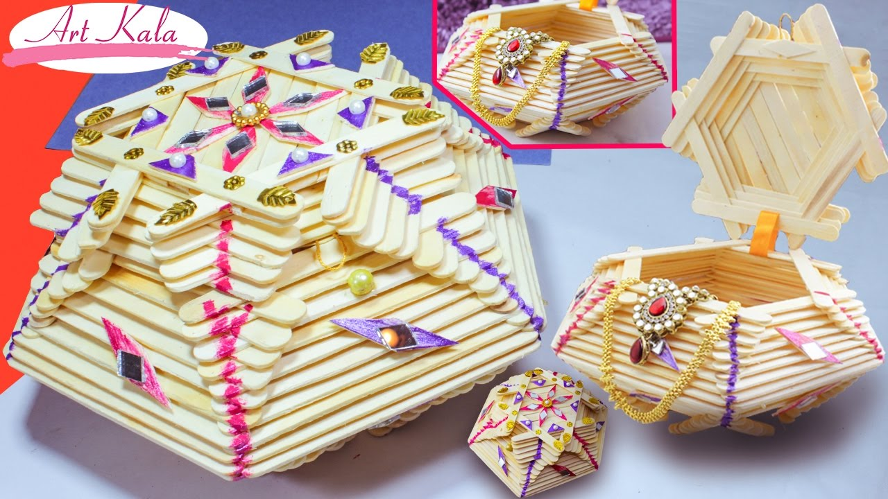 How To Make Jewelry Box Popsicle Stick Crafts Diy Artkala