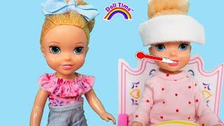 Anna is Sick! Elsa Anna Sick day Routine