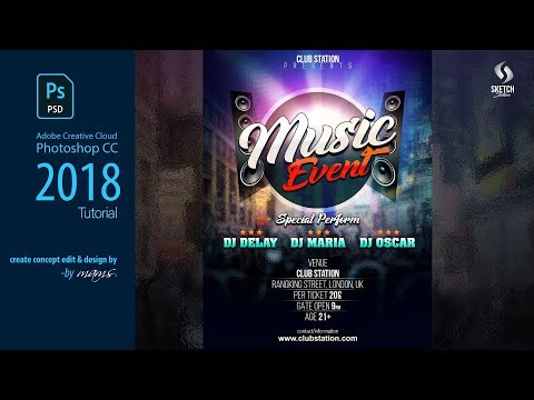 Music Event Design Flyer Photoshop Tutorial I Sketch Station