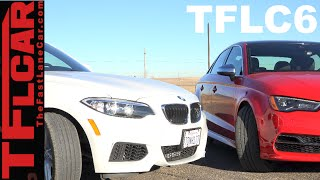 2015 audi s3 vs bmw 228i mashup review drag race the fast lane car episode 6