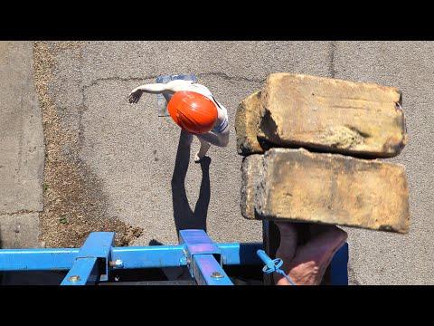 See-Thru Hard Hats Vs Bricks - In 4K Slow Motion