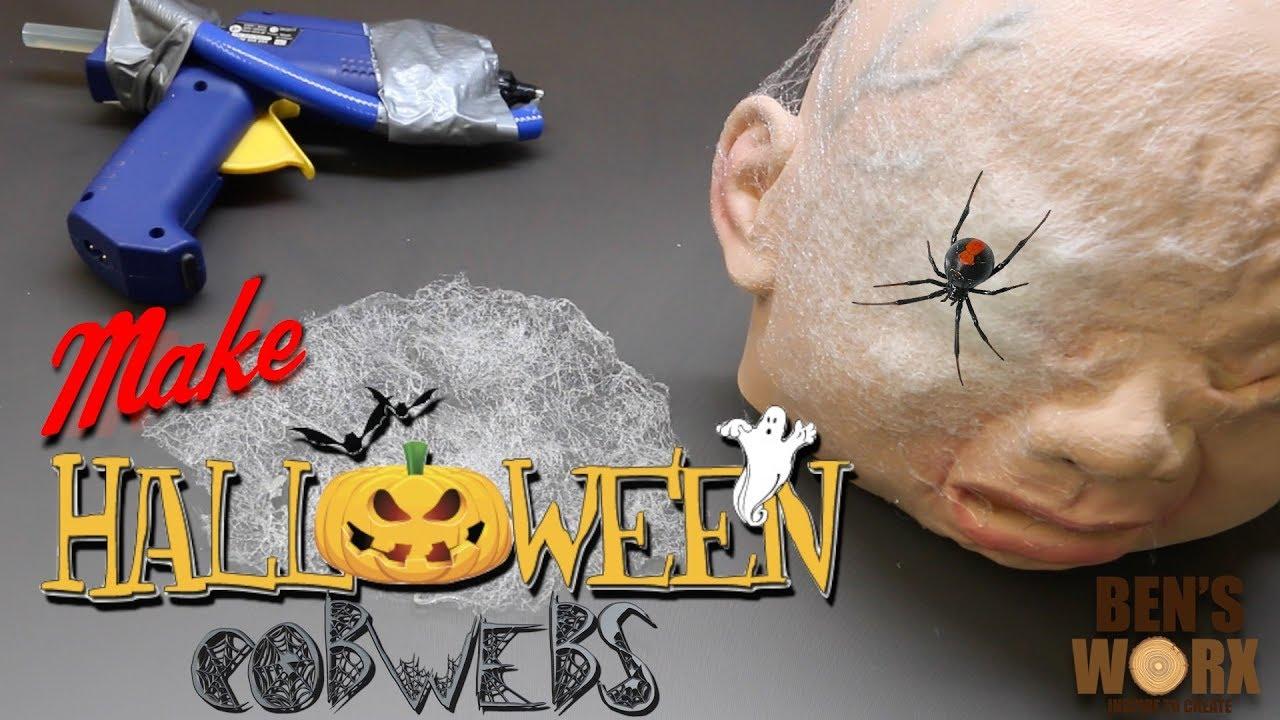 how to make halloween decorations hot glue cobwebs