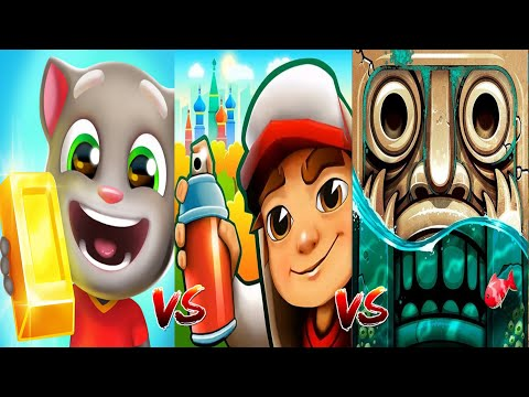 Talking Tom Gold Run VS Subway Surfers Moscow VS Temple Run 2 Pirate Cove Gameplay